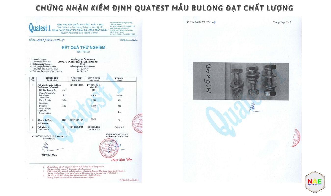 Chứng nhận kiểm định Quatest mẫu bulong đạt chất lượng